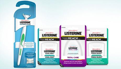 Listerine Flosser and three floss products lined up