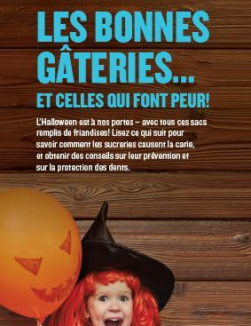 Une photo d'une fillette portant un costume de l'Halloween avec le titre « Comment le sucre et les sucreries causent la carie ».